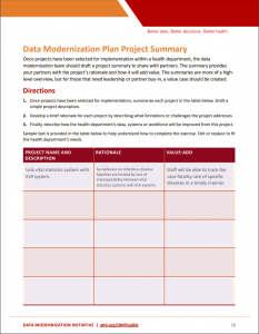Data modernization plan worksheet